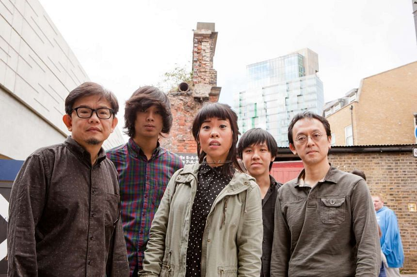 The Steve McQueens comprise (above from left) Joshua Wan, Aaron James Lee, Eugenia Yip, Jase Sng and Fabian Lim.
