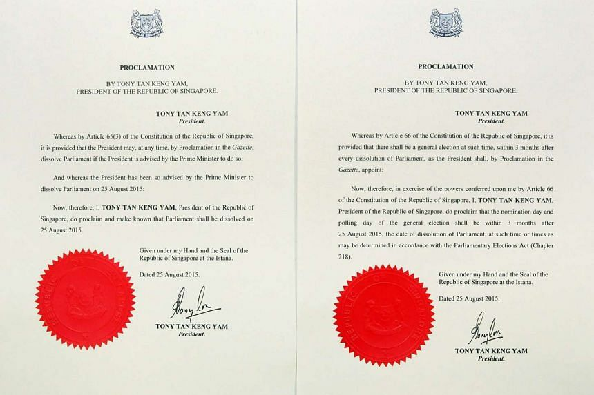 A photo of the Writ of Election signed by President Tony Tan Keng Yam, posted on Prime Minister Lee Hsien Loong's Facebook page. The 15 approved symbols are for the use of candidates who do not have a party symbol.