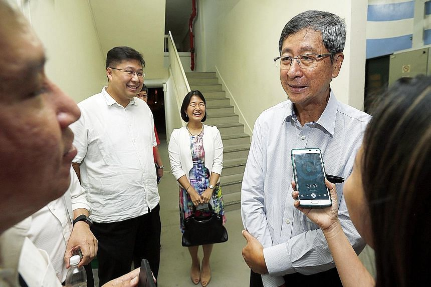 Mr Lim Boon Heng in Serangoon North for a PAP Aljunied GRC meeting. PAP sources say it is unlikely that he will contest, but the very idea that he might is enough to make the WP hesitate on its next moves.