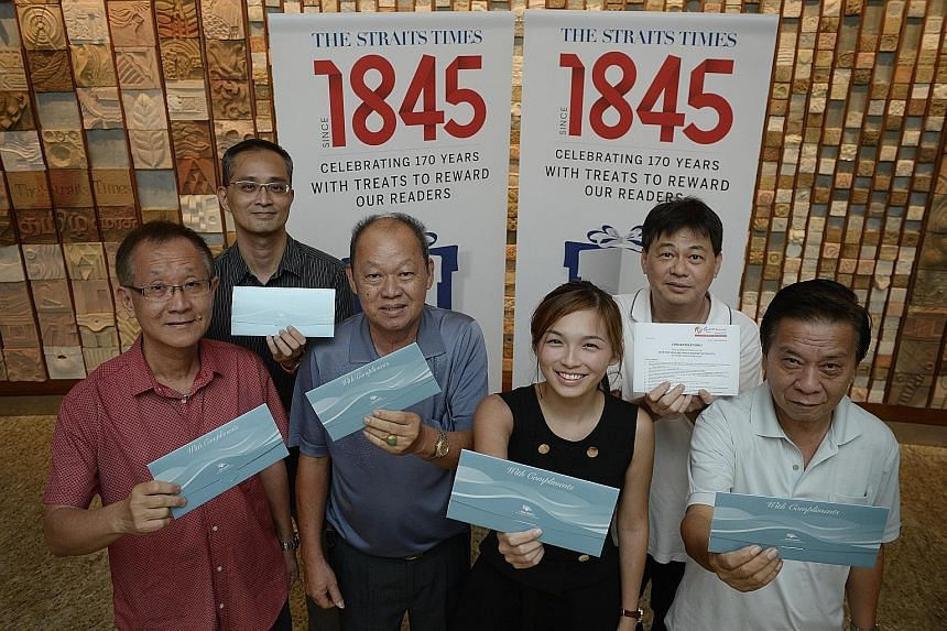 The five ST170 Treats Contest winners who bagged the cruise trip are (from left) Mr Ng Teck Beng, 62, Mr Chow Chee Kienm, 41, Mr Sui Ting Lay, 66, Ms Faustina Tan, 24, and Mr Tan Sew Fock (far right), 63. Mr Lam Kuek Seng (second from right), 50, won