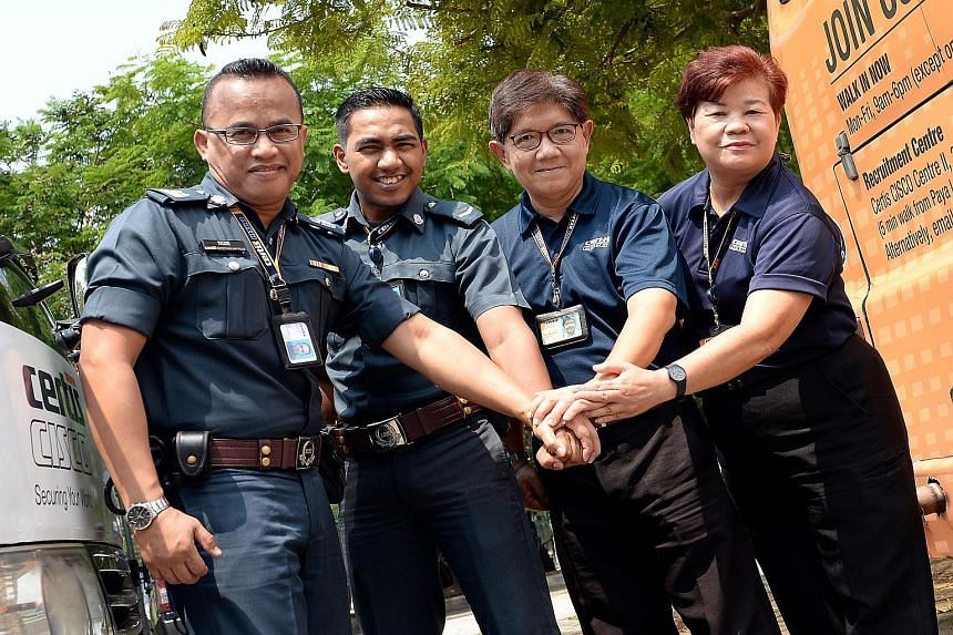Among those who received the Team Commendation awards yesterday were (from left) Certis Cisco officers Yusaini Selamat, Simon Laurance, Tan Jea How and Irene Ho Yuet Pheng.