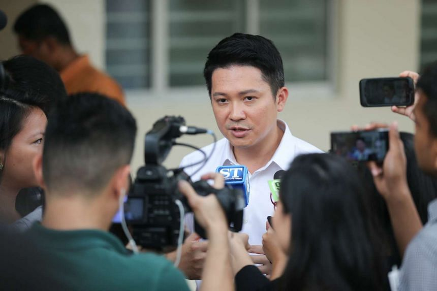Mr Henry Kwek,  one of the candidates for Nee Soon GRC, speaking to the media.