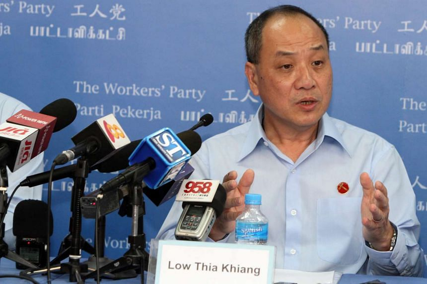 Workers' Party Secretary-General Low Thia Khiang speaking at the first Workers' Party press conference for General Election 2015.