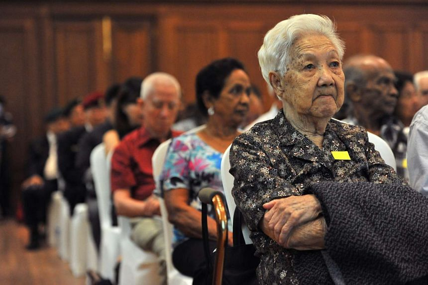 Madam Chia Siok Hew, a WWII survivor, inside the City Hall Chamber (now part of the National Gallery Singapore) on Aug 27, 2015.