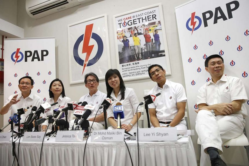 (From left) Retiring Raymond Lim, Fengshan SMC candidate Cheryl Chan and the East Coast GRC team of Mr Lim Swee Say, Ms Jessica Tan, Dr Mohamad Maliki Osman and Mr Lee Yi Shyan at the PAP press conference.