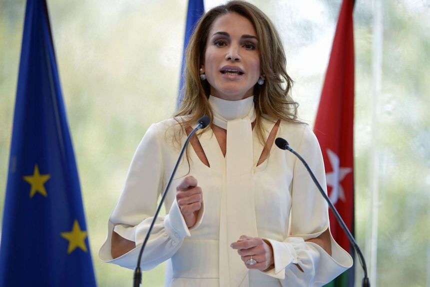 Queen Rania of Jordan delivering a speech, in which she said moderate Muslims were not doing enough to fight against ISIS ideology.