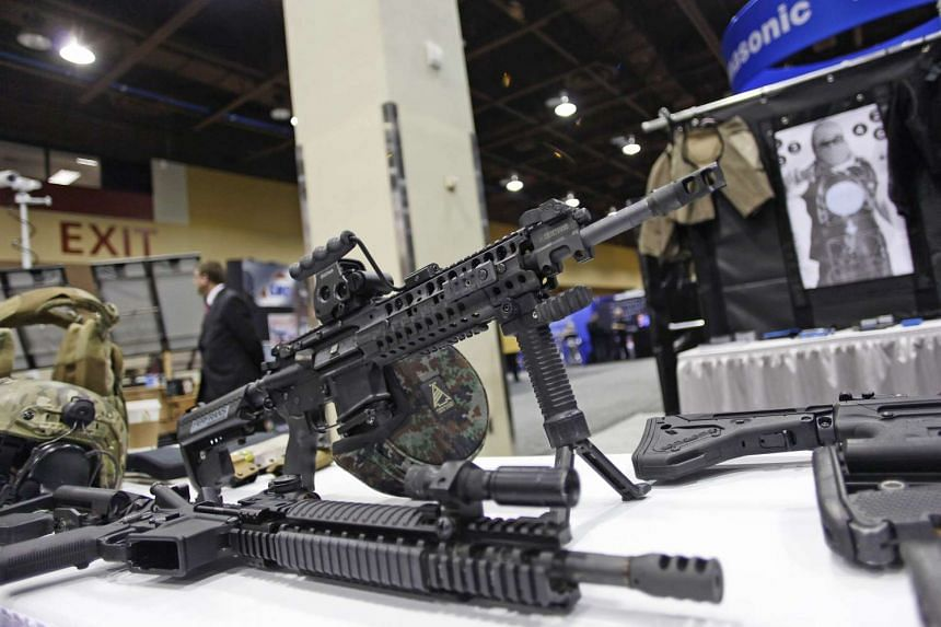 An AR-15 style rifle is displayed at the 7th annual Border Security Expo in Phoenix, Arizona, in this file photo taken March 12, 2013.