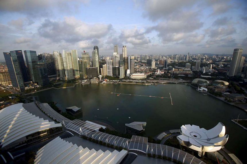 A skyline view of the central business district in Singapore.