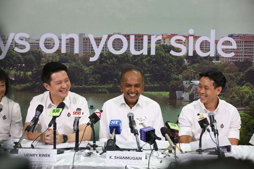 (from left) Mr Henry Kwek; Mr K Shanmugam and Mr Louis Ng at a press conference to introduce candidates for Nee Soon GRC  at Nee Soon East PAP Branch on Aug 26, 2015.