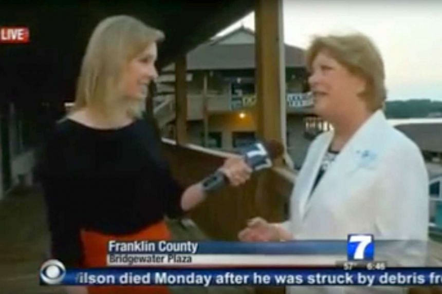 A video frame grab shows Ms Alison Parker (left) interviewing Ms Vicki Gardner before she was shot and killed.