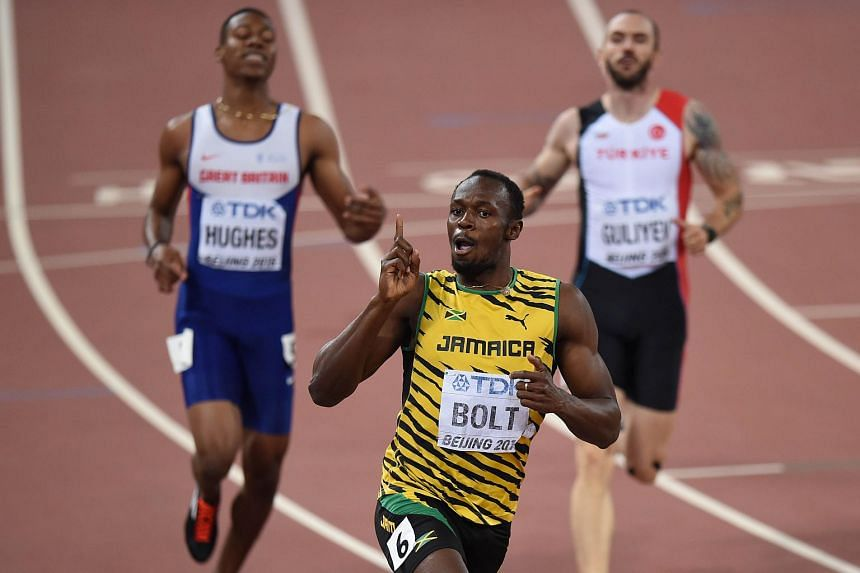 Usain Bolt celebrating after winning the 200m gold in Beijing.