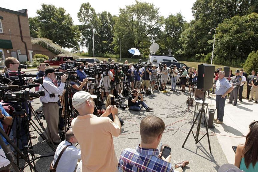 Virginia sheriff Bill Overton speaking  to the press following the shooting of two employees of WDBJ TV during a live broadcast at Bridgewater Plaza on Smith Mountain Lake on Aug 26, 2015.