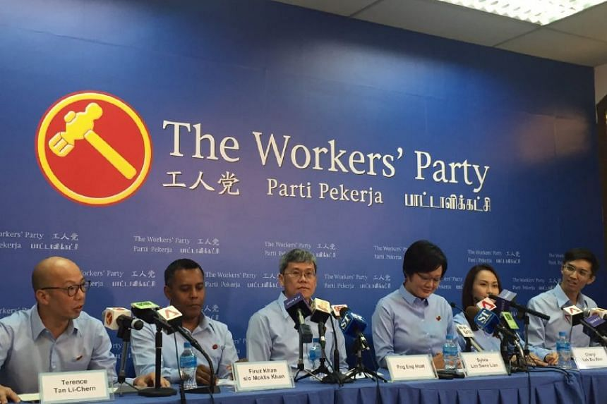 New Workers' Party candidates (from left) Terence Tan, Firuz Khan, (from right) Luke Koh and Cheryl Loh.