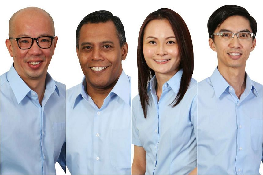 Workers' Party candidates (from left) Terence Tan, Firuz Khan, Cheryl Loh and Luke Koh.
