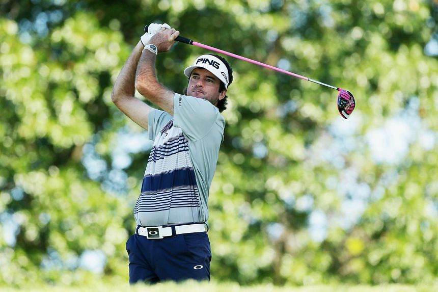 Bubba Watson hitting his tee shot on the 12th hole during the first round of The Barclays on Aug 27, 2015.