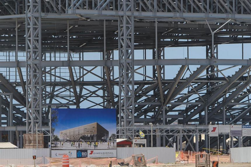 The Handball Arena under construction for the Rio 2016 Olympic and Paralympic games in Rio de Janeiro, Brazil, on Dec 19, 2014.