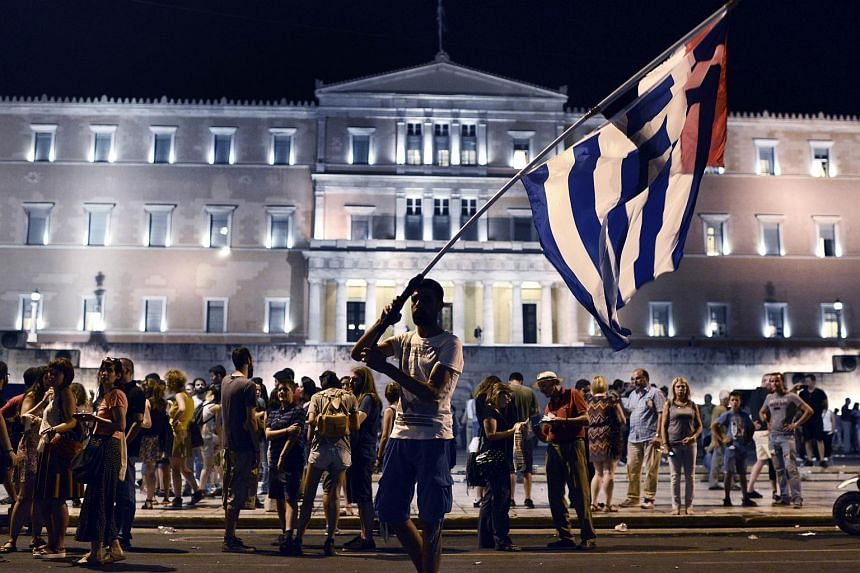 """Demonstrations in Greece in July against austerity measures raised fears that a """"Grexit"""" would take place."""