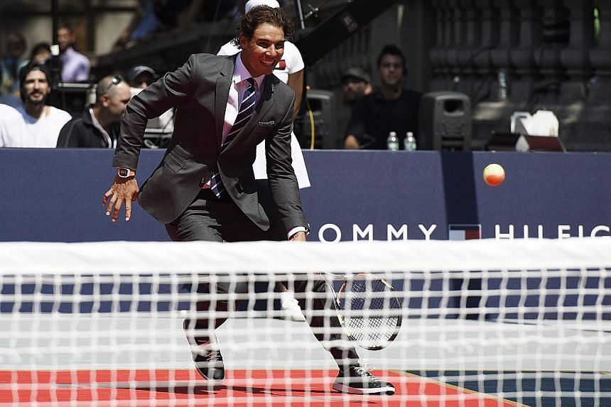 "Rafael Nadal participating in a ""strip tennis"" event promoting Tommy Hilfiger's new line of underwear in New York on Tuesday. The injury-plagued Spaniard is relaxed ahead of next week's US Open."