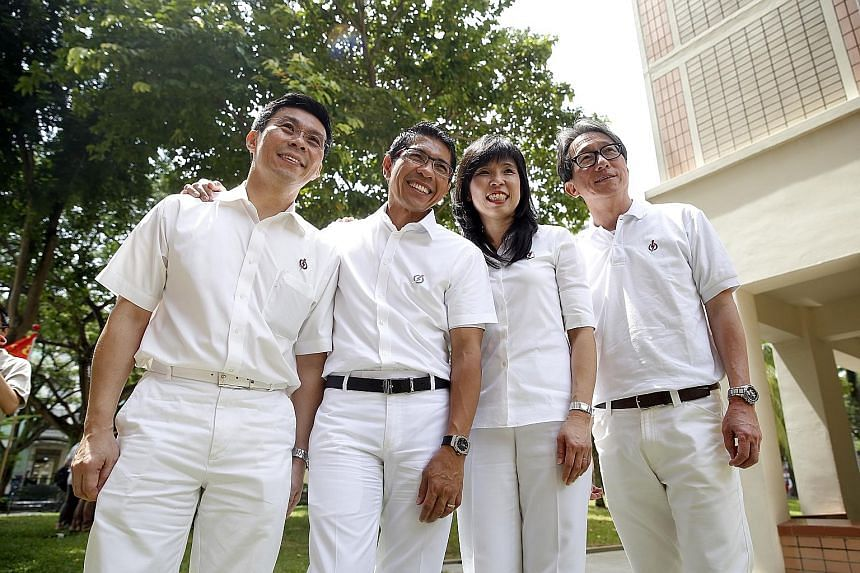 The four East Coast GRC candidates are (from left) Mr Lee Yi Shyan, Mr Maliki Osman, Ms Jessica Tan and Mr Lim Swee Say.