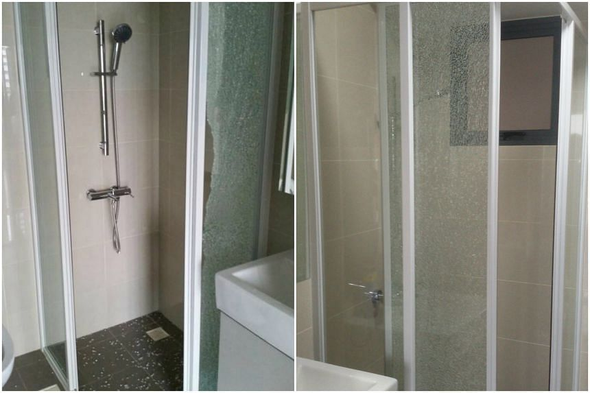 Madam Jaime Chen's glass shower panel (left) shattered even though her family has not moved in yet. Mr Christopher Tan said that his shattered (right) despite having a safety film.