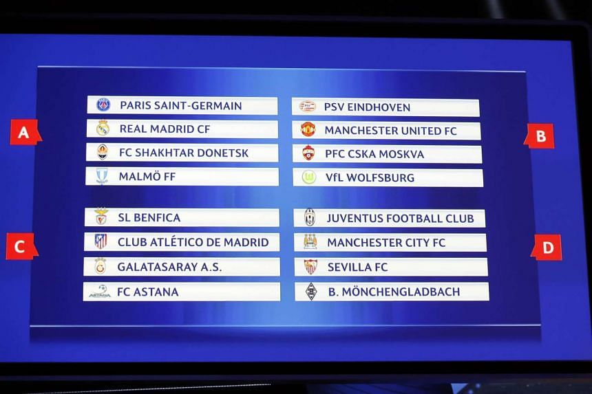 The draw for the groups A, B, C and D are displayed on a screen during the UEFA Champions League Group stage draw ceremony.