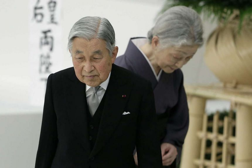 Japanese Emperor Akihito and Empress Michiko in Tokyo, Japan on Aug 15, 2015.
