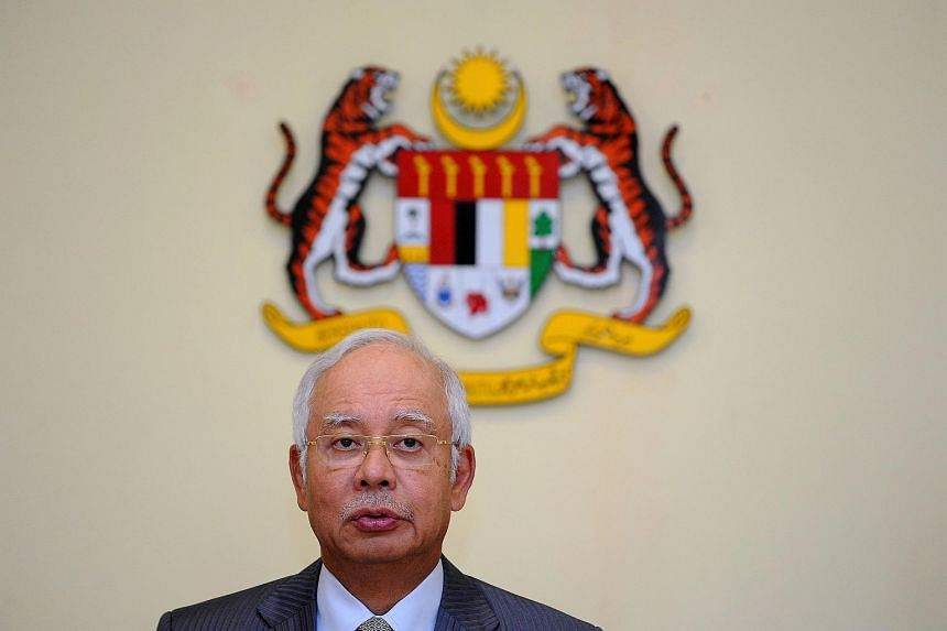 Malaysia's Prime Minister Najib Razak during a press conference at his office in Putrajaya.