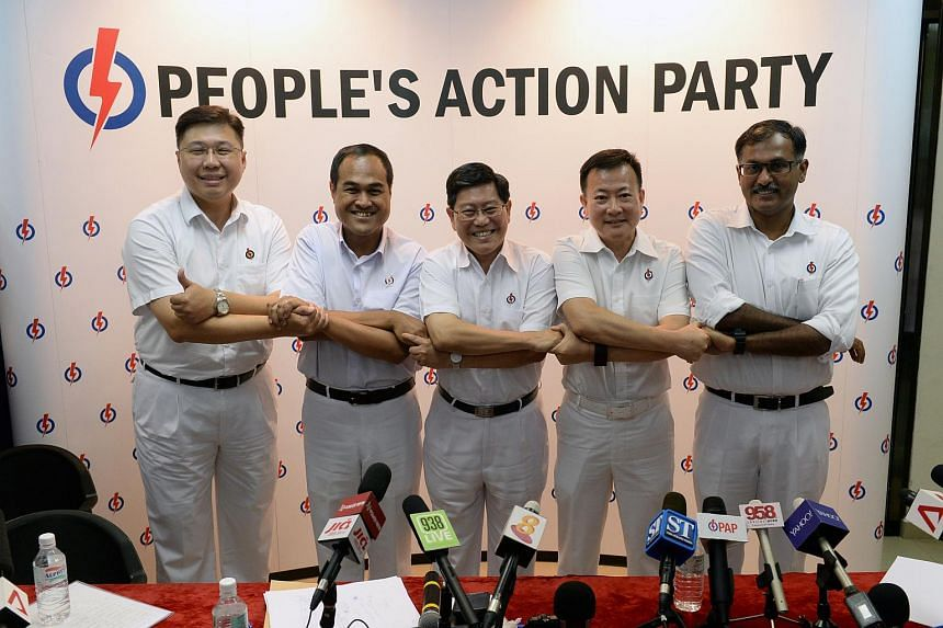PAP's Aljunied GRC candidates ( from left) Chua Eng Leong, Shamsul Kamar, Yeo Guat Kwang, Victor Lye and Murali Pillai.