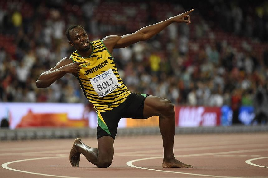 Usain Bolt celebrating after winning 200m sprint in Beijing on Aug 28, 2015.