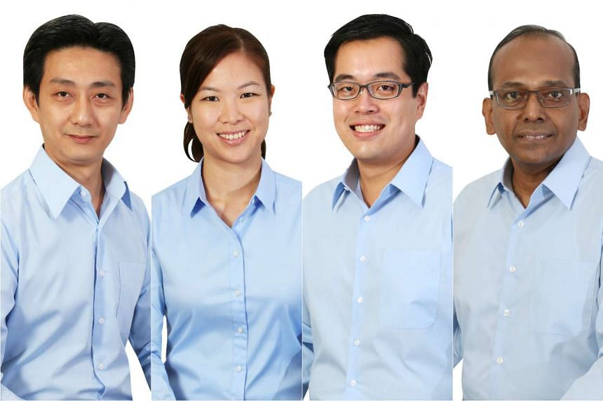 WP's new candidates (from left) Adrian Sim, He Ting Ru, Ron Tan and L. Somasundaram.