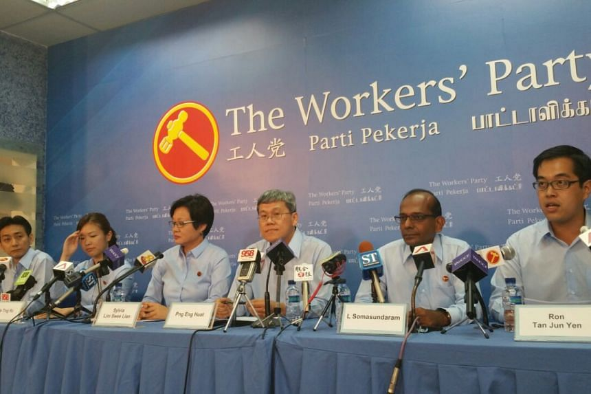 Workers' Party's new candidates, Mr Adrian Sim (left), Ms He Ting Ru (second left), Mr L. Somasundaram (second right) and Mr Ron Tan (right).
