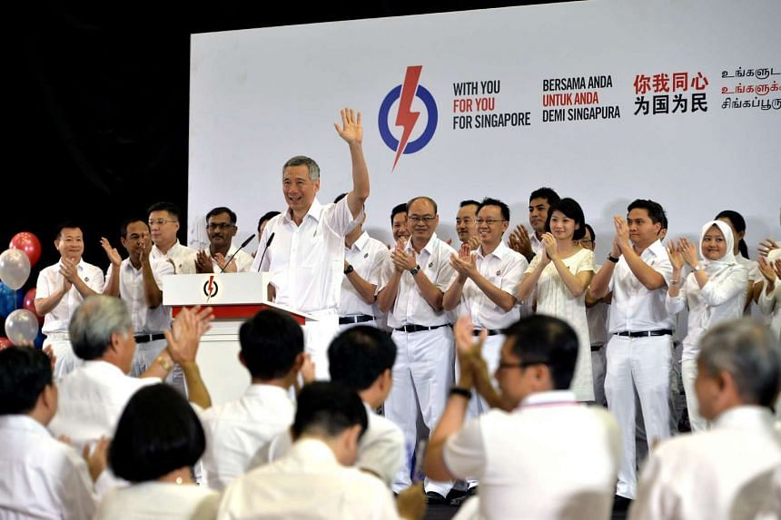 Prime Minister Lee Hsien Loong and PAP's candidates at the launch of the PAP's manifesto.