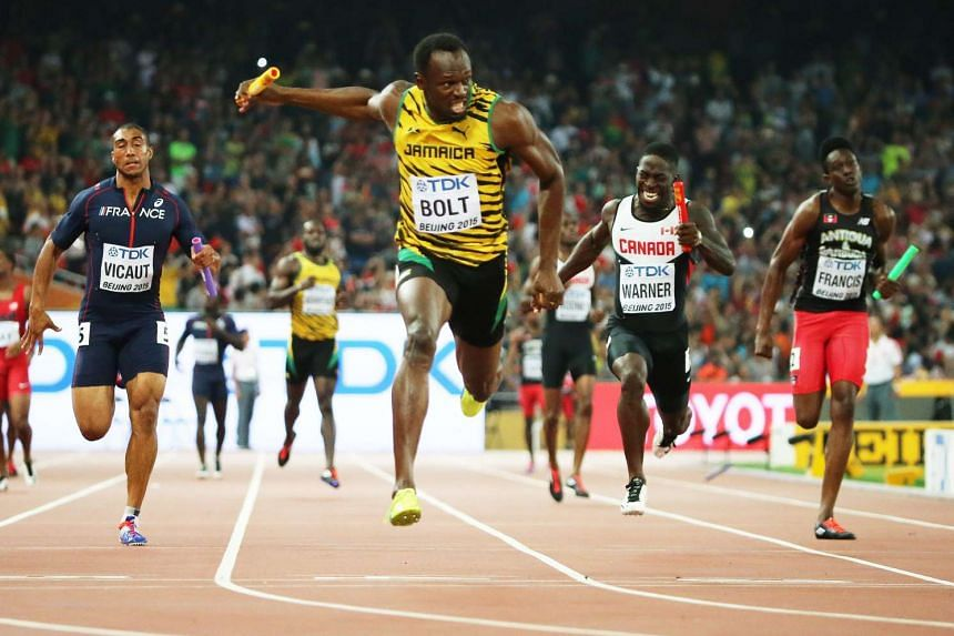Usain Bolt in the 4x100m men relay during the Beijing 2015 IAAF World Championships on Aug 29, 2015.