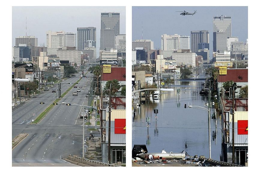 RIGHT: New Orleans, eight days after Hurricane Katrina struck in 2005. FAR RIGHT: The same central business district one year after the disaster.