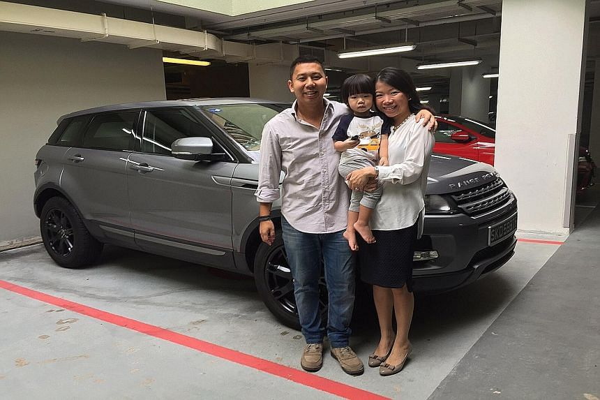 Mr Kelvin Tan (left, with wife June and son Bradley) bought a Range Rover Evoque and Mr Jonathan Lau (right) bought a Volvo XC60. Both did so partly for safety reasons. Mr Tan Teng Lip, who owns a BMW X6, likes SUVs for their toughness. Mr Simon Tong
