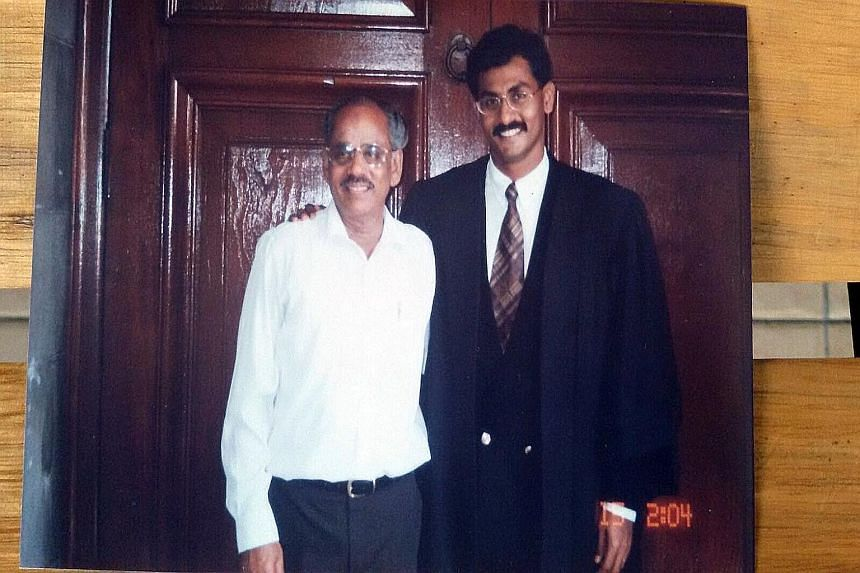 PAP candidate K. Muralidharan Pillai with his father P.K. Pillai, a former political detainee, in a 1996 photo. The older Mr Pillai passed away in 2007.