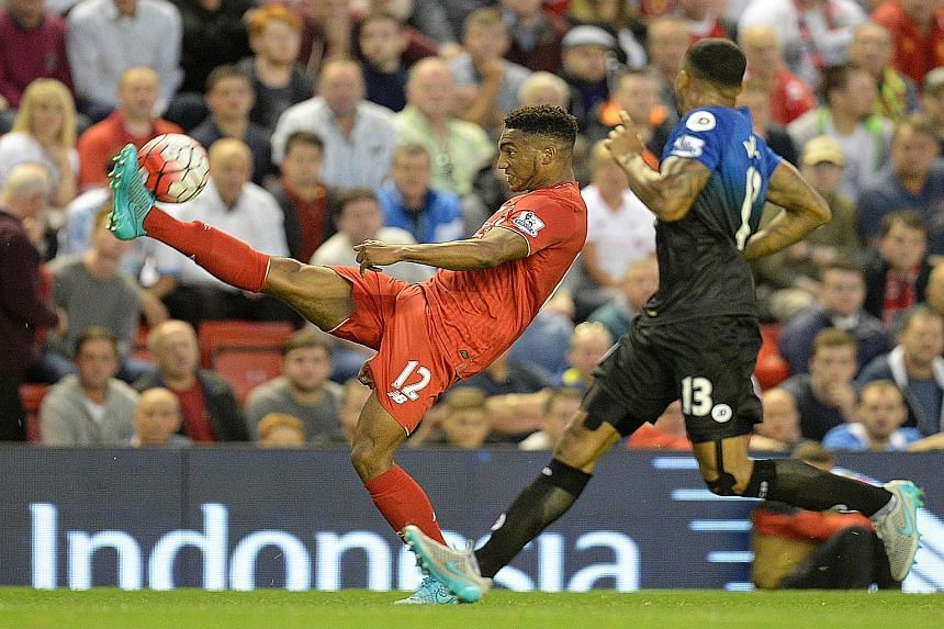 Despite being only 18 years old, Liverpool left-back Joe Gomez (far left) has been one of the outstanding players for the Reds so far this season with his calm defending.