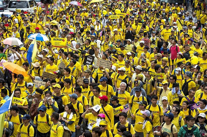 Supporters of pro-democracy group Bersih gather near Chinatown in Malaysia's capital city of Kuala Lumpur, Malaysia on Aug 29, 2015.