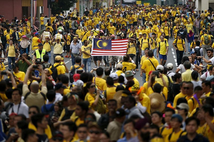 Protesters march at a rally organised by pro-democracy group Bersih in Malaysia's capital city of Kuala Lumpur on Aug 29, 2015.