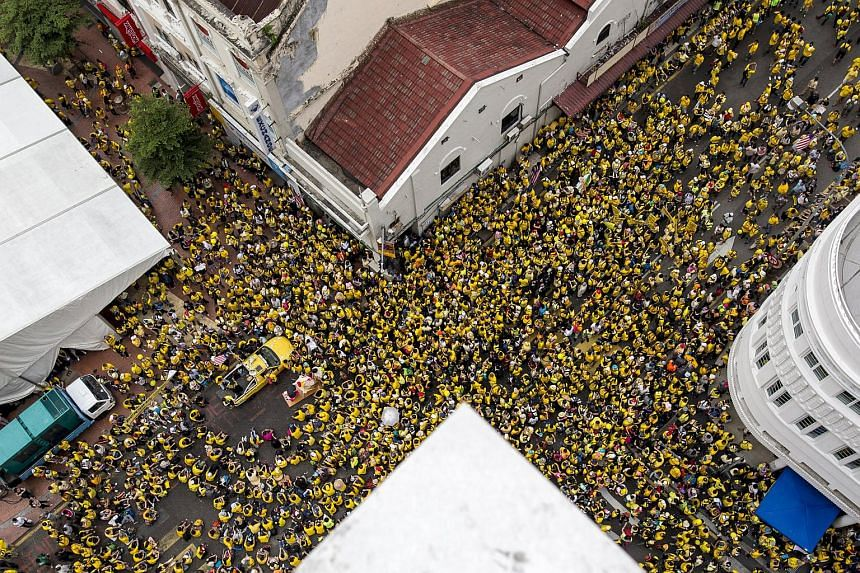 Supporters of pro-democracy group Bersih gather at Central Market in Malaysia's capital city of Kuala Lumpur on Aug 29, 2015.
