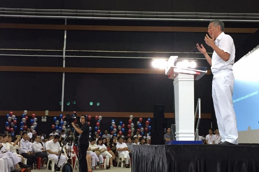 Prime Minister Lee Hsien Loong speaking at the launch of the PAP's manifesto.