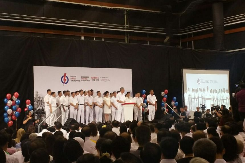 PM Lee Hsien Loong introducing the PAP candidates at the launch of the party's manifesto on Saturday.
