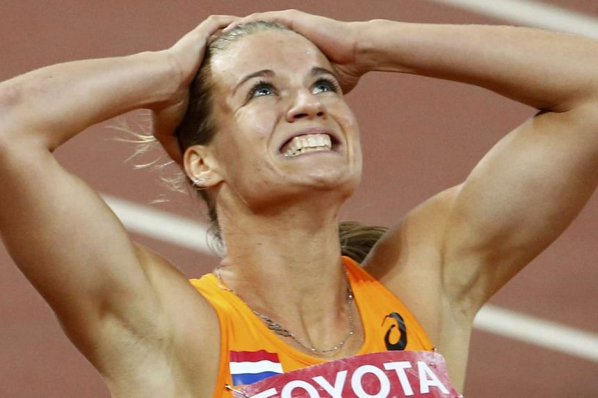 Schippers reacts after winning the women's 200m final.