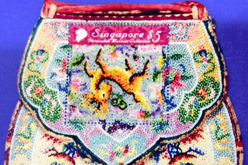 This Peranakan influenced stamp features a deer which has been wrongly printed upside down.