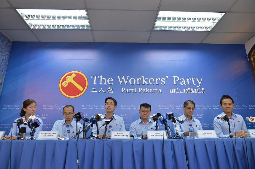 (From left) Workers' Party members He Ting Ru, Mohamed Fairoz bin Shariff, Gerald Giam, Daniel Goh, Leon Perara and Kenneth Foo at the launch of the Workers' Party manifesto on Aug 29, 2015.