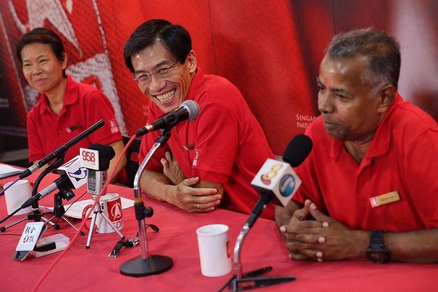 The SDP secretary-general Chee Soon Juan introduces ex-political detainee Dr Wong Souk Yee and Mr Sadasivam Veriyah at the party headquarters in Ang Mo Kio on Aug 29, 2015.