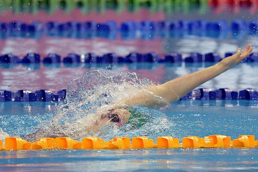 Australia's Minna Atherton wearing a green cap won the women's 200 m Backstroke at CR time 0f 2:09:11 at Day three of 5th FINA World Junior Swimming Championships 2015.