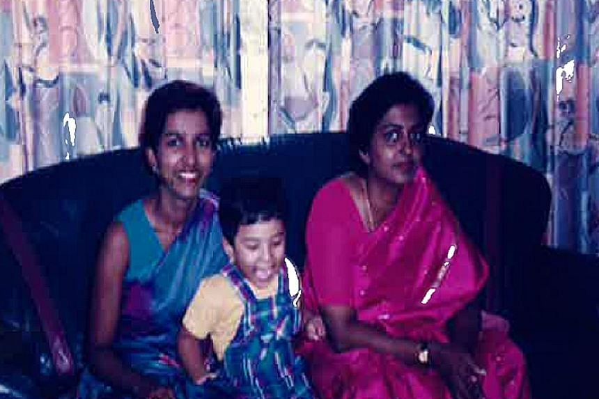 Above: Ms Jesudason riding a horse up a mountain in Nepal, not long after she was diagnosed with a brain aneurysm. Below: Ms Jesudason with her son and sister in a photo taken in 1995 when Mallika had just moved back to Singapore. Ms Leela Jesudason