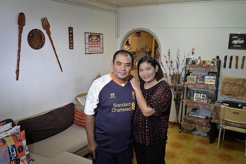Mr Rosli Jadi and his wife, Madam Noorliah Hawdi, in their present flat. They had to sell their home because they could not keep up with the loan repayments after Mr Rosli fell ill and lost his job. They moved home six times in three years. Their new