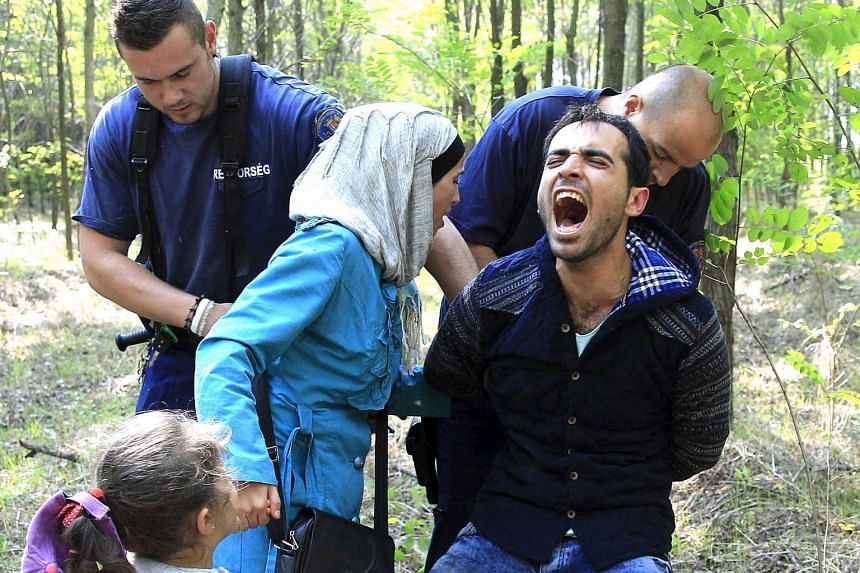 Hungarian police detaining a Syrian migrant family at the border with Serbia last week.